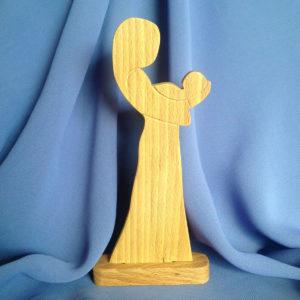 sculptuur-verwondering-hout-baby-moeder
