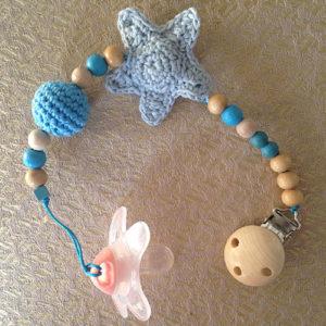speenkoord gehaakte blauwe ster