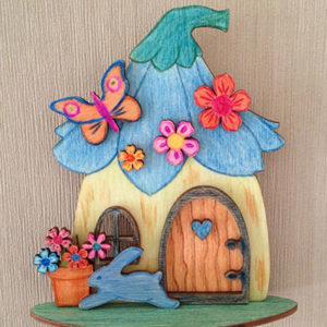 Schilderijtje-mushroom-kabouterhuisje-fairy-vlinder-haasje-3D