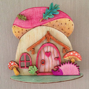 schilderijtje-mushroom-egel-3D-kabouterhuisje-fairy
