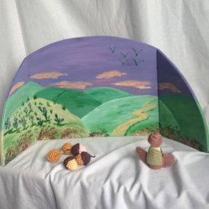 Diorama-bergen-kijkplaat-achtergrond-seizoenstafel-herfsttafel-vrijeschool-2